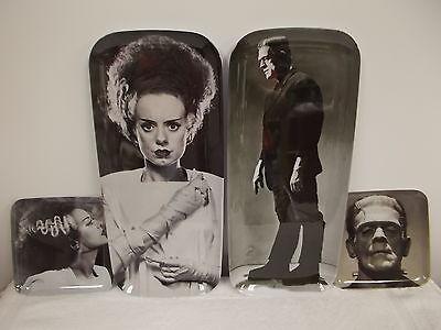 4 Universal Monsters Halloween Frankenstein Bride Snack Trays Dishes Plates