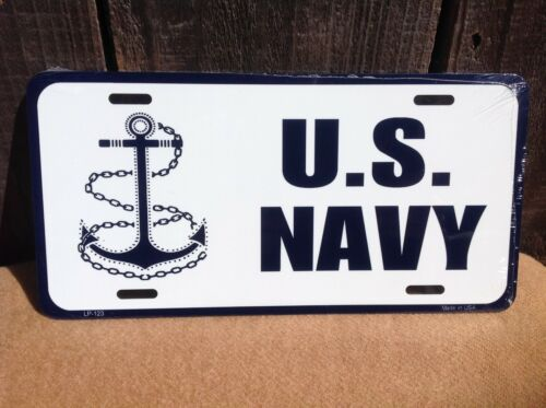 US Navy Anchor White Wholesale Metal Novelty Wall Decor License Plate