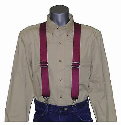 Sale Heavy Duty Black Nylon Suspenders Scissor Trigger Snaps USA MADE