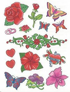 15-different-Temporary-Tattoo-Large-size-sheet-NEW-rose-flower-butterflies