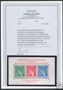 Berlin-Block-I-mit-Plattenfehler-II-Postfrisch-Attest-BPP-Eliades-KW-2500-M