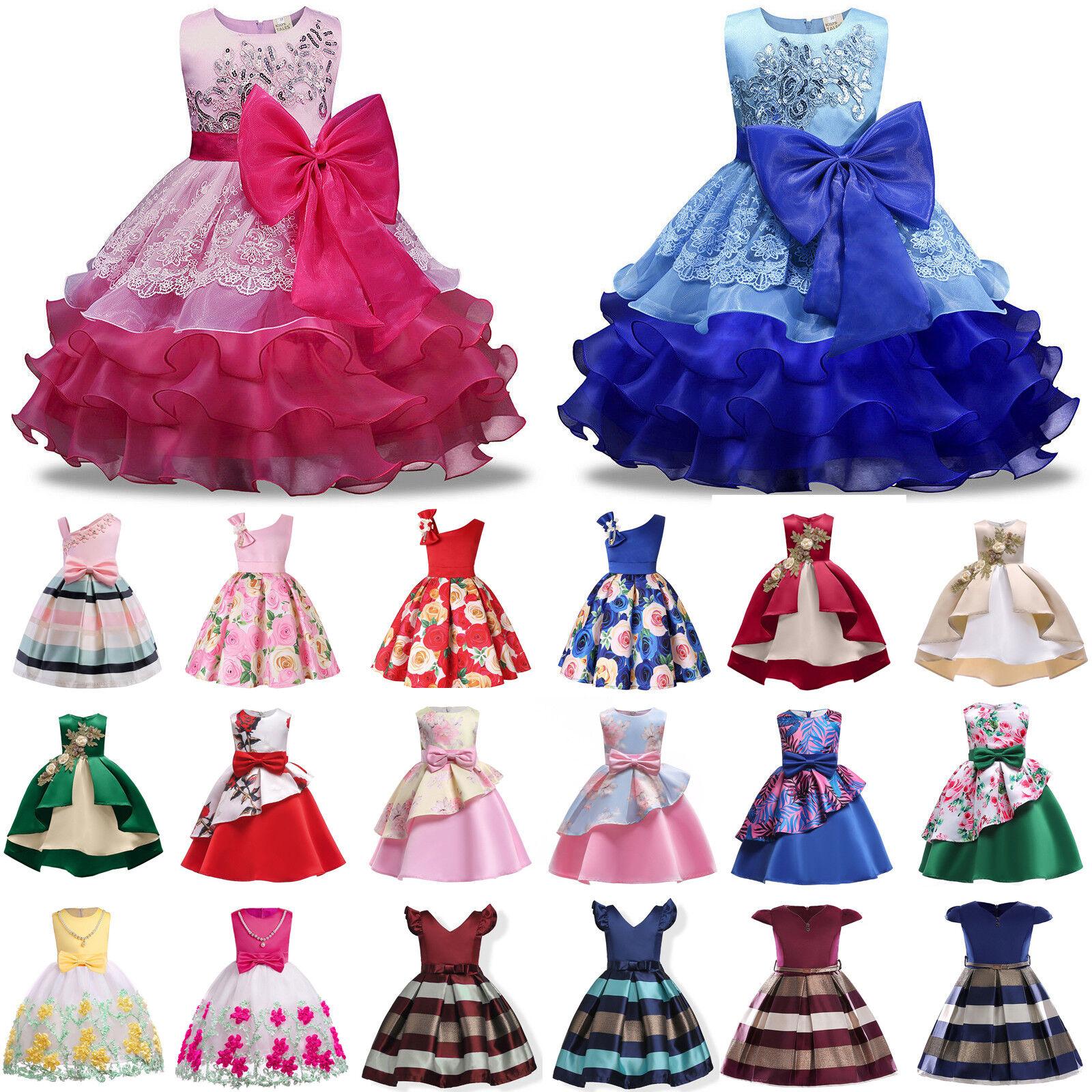 Kinder Mädchen Prinzessin Festkleid Hochzeit Tüll Party Abendkleid Ballkleid