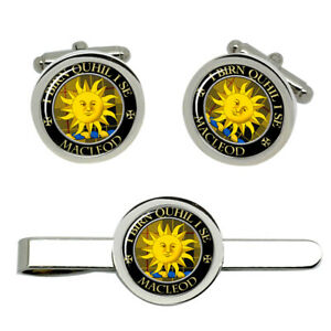 Macleod-of-Lewis-i-Birn-Quhil-I-Se-Scottish-Clan-Cufflinks-and-Tie-Clip-Set