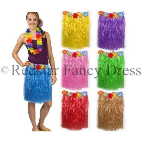 LADIES HAWAIIAN GRASS SKIRTS LEI SUMMER HULA ALOHA PARTY GARLAND FANCY DRESS