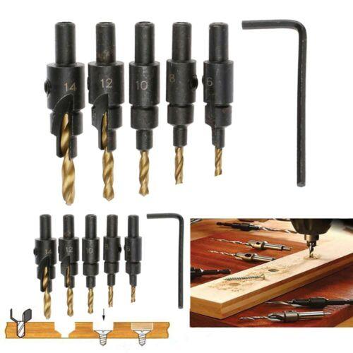 5pcs HSS Countersink Drill Bit #6 #8 #10 #12 #14 w// Quick Change Hex Shank Set