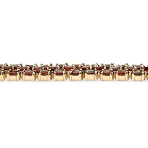 Femme 14K Or Jaune GP Triple rangée Grenat Tennis Bracelet