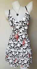 Women PARTY ROCK EMO PUNK VTG DRESS ROCKABILLY MAXI SKULL PUNK White Handmade M