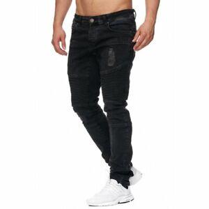 Details zu Tazzio Fashion Herren Denim Biker Jeans im Destroyed Look Slim Fit Schwarz