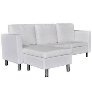 Sofa Seccional Vidaxl Blanco Cuero Artificial Configurable Chaise
