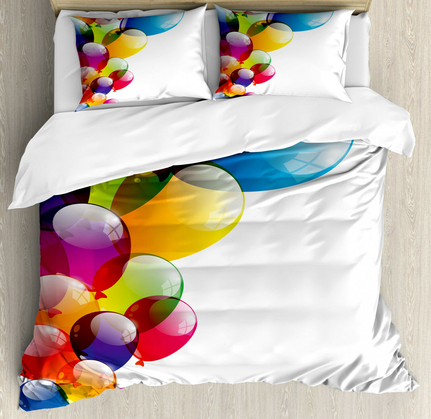 Coloreeful Duvet Cover Set with Pillow Shams Vibrant Balloons Joy Print