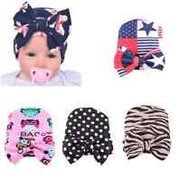 Newborn Baby Boys Girls Infant Toddler Bowknot Hospital Warm Cap Beanie Hat