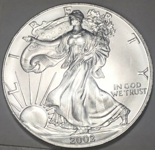2002  $1 SILVER AMERICAN EAGLE FROM ORIGINAL ROLL