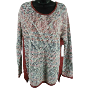 NWT-Nic-Zoe-Multi-Color-Zipper-Side-Sweater-Women-039-s-Size-Large