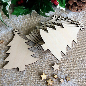 10pcs Blank Christmas Tree Ornaments Scrapbooking DIY Wooden Tags Pieces