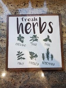 Details About Fresh Herbs Farmhouse Sign Framed Signs Home Decor Sign Wood Sign