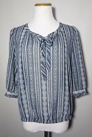 NWT BANANA REPUBLIC Petite Sheer Blouse Size PS Blue White Print 3/4 sleeves