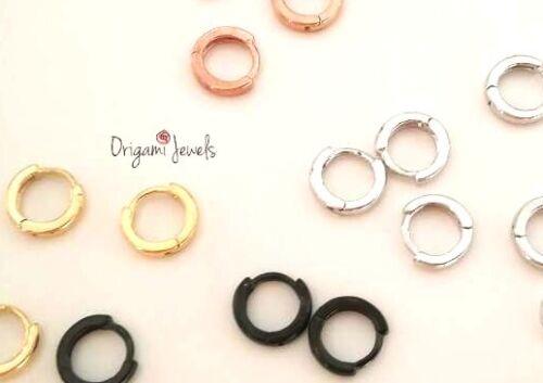 Simple cartilage hoop earring silver rose gold black 5mm Tragus helix piercing