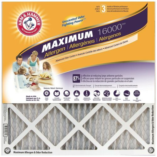 12x12x1 Arm /& Hammer Maximum Allergen 16000 6 Pack MERV 11 Air Filters