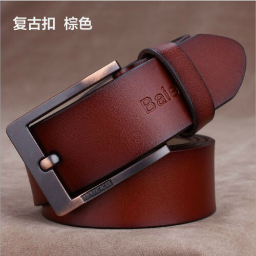 Genuine Real Cow Leather Men/'s Belt Waistband Waist Strap Girdle Smooth Buckle