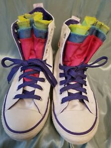 f94df6758062 White Converse All-Star high tops Multi Tongue Rainbow Neon Youth 4 ...