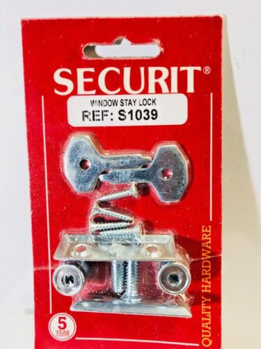 SECURIT S1039 ZINC Chrome  WINDOW STAY LOCK /& FITTINGS TWIN PACK
