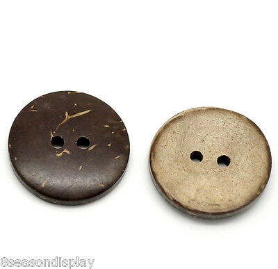 "100PCs Brown Coconut Shell 2 Holes Sewing Buttons Scrapbooking 20mm(3/4"")Dia"