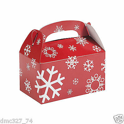 12 CHRISTMAS Party Favor Gift Sweets Cookie Treat Boxes RED & WHITE SNOWFLAKE