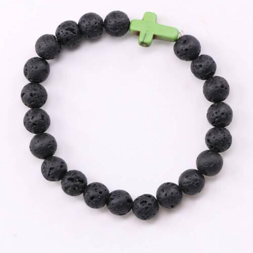 Lava Rock Stone Turquoise Croix Perlé élastique Bracelet Yoga Bijoux