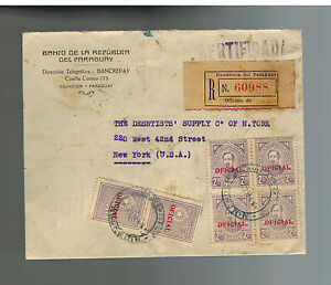 1939 Bank of Paraguay Registered Cover to USA