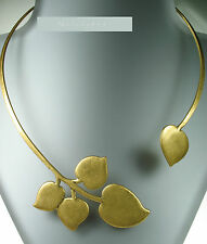 Danish Andersen PILGRIM Wrap Collar Necklace PATINA Heart Leaf Vintage GOLD BNWT