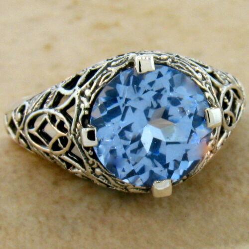 SKY BLUE SIM TOPAZ ANTIQUE DESIGN .925 STERLING SILVER RING SIZE 8 5 CT #327