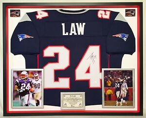 new style 15f5f 6a196 Details about Premium Framed Ty Law Autographed / Signed New England  Patriots Jersey - JSA COA