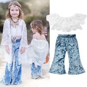 Flared Pants 2PCS Toddler Girls Summer Strap Off  Shoulder Tops Pants Outfits US