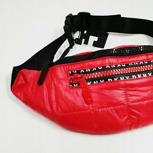 1b5a224ebe8a DKNY RED BLACK QUILTED NYLON HANDBAG OVER BODY BELT BUM BAG SIZE S ...