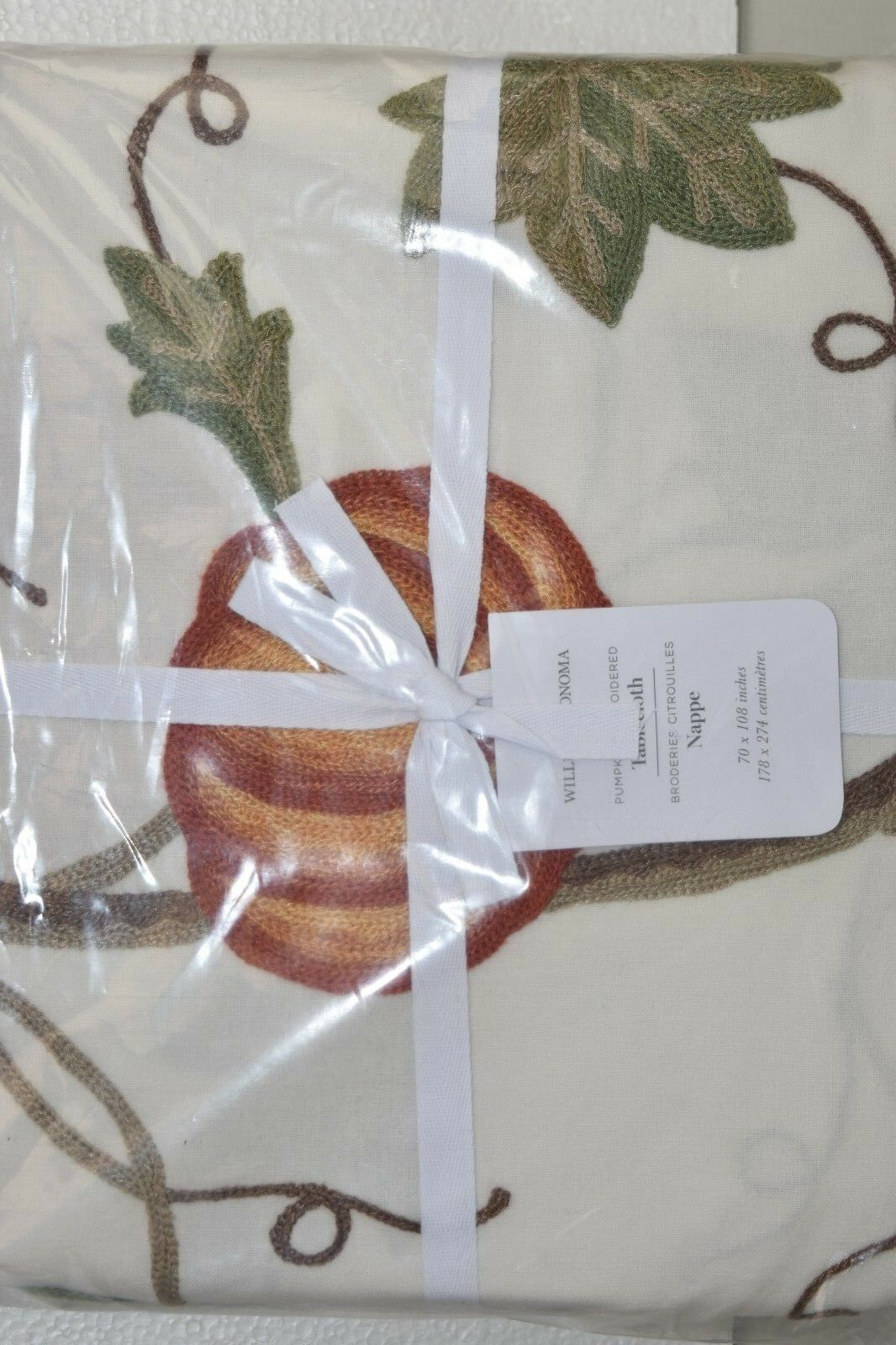 150 NEW Williams Sonoma Pumpkin Embroiderouge Tablecloth 70 x 108 Thanksgiving
