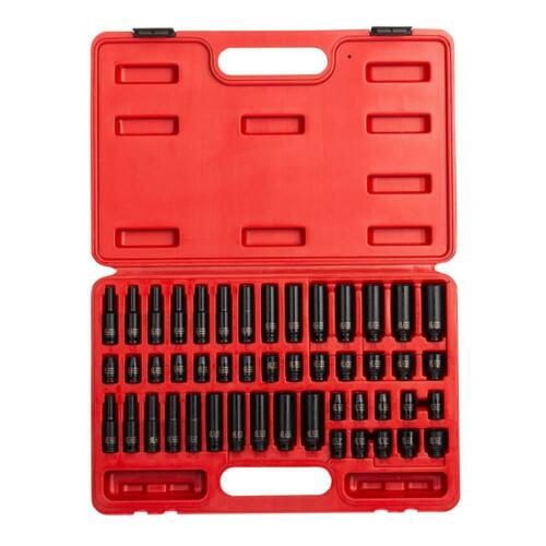 Drive SAE /& Metric Impact Socket Set 1//4 in 48-Piece Torque Impact Tools New