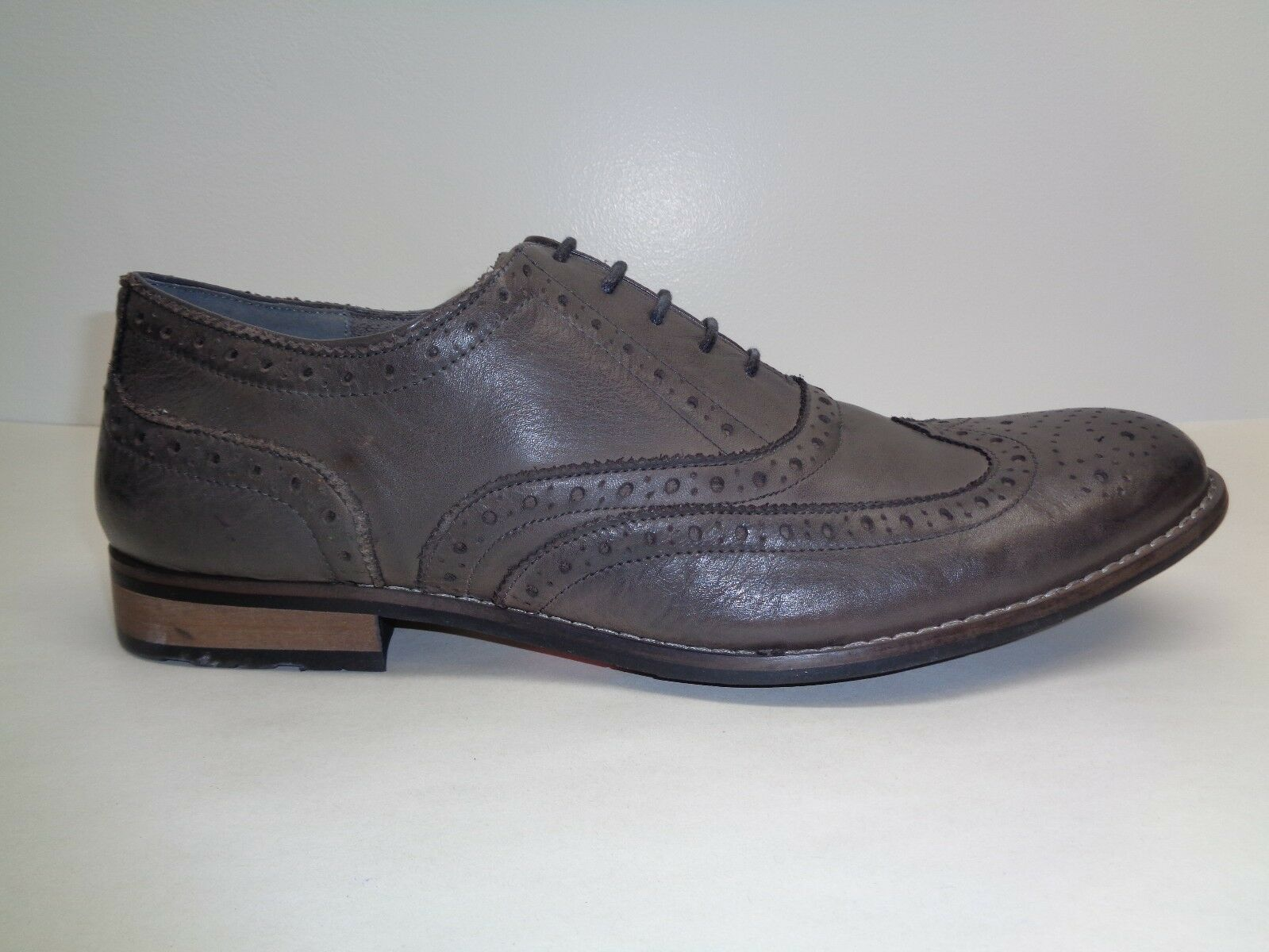 20f2ef0b06c Steve Madden Size 9 M Gionni Grey Leather Lace Wingtip Oxfords Mens Shoes