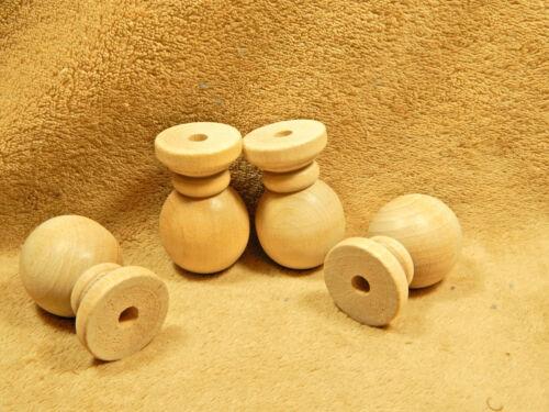 Unfinished Wood Wooden Furniture Ball Bun Bunn Feet Lot of 4