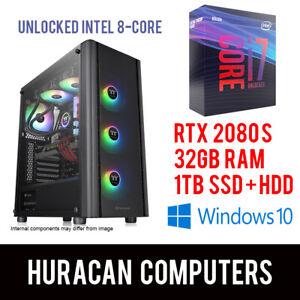 Intel-i7-9700K-RTX-2080-S-32GB-DDR4-1TB-SSD-HDD-Gaming-Computer-Desktop