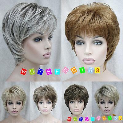 (7 colors) Short Straight Women Female Lady Hair Full Wig + Free Wig Cap