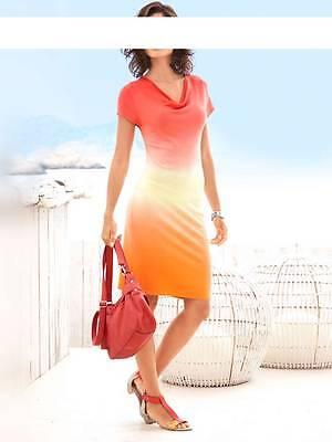 Kleid Mini Heine Feinstrick Farbverlauf rot töne Gr 40 42 44