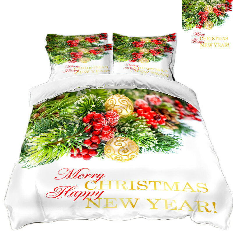 3D Natale Xmas stile 78 Federe Letto Trapunta Set Copripiumino Singolo Regina Regno Unito