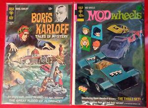 Vintage-Gold-Key-2-Comic-Lot-Boris-Karloff-22-1968-Mod-Wheels-12-1974