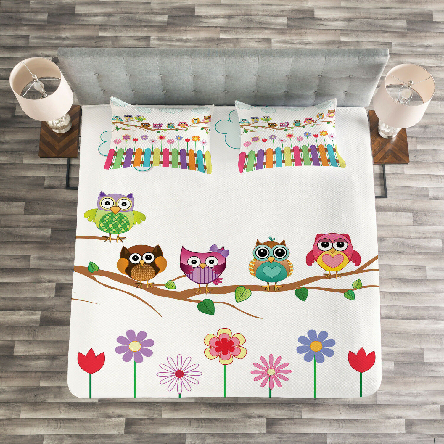 Owls Quilted Bedspread & Pillow Shams Set, Bird on Branch Sunny Day Print
