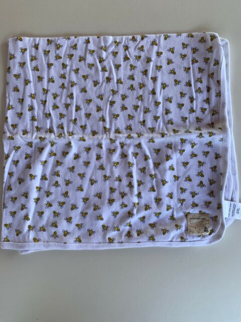 "Burt's Bees Baby Blanket White Yellow Swaddle Receiving Organic Cotton 29"" X 29"""