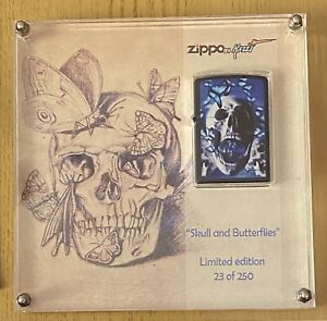 """LIMITED EDITION MAZZI """"SKULL & BUTTERFLIES"""" On Navy Blue Matte In Plexi Display"""