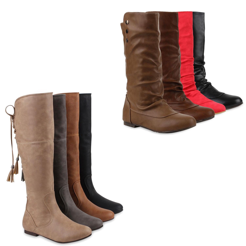 Klassische Damen Stiefel Quasten Stylisch 77582 Schuhe