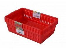 Red Set di 5 piccoli in plastica a portata di mano frutta verdura cesto cucina ufficio Storage