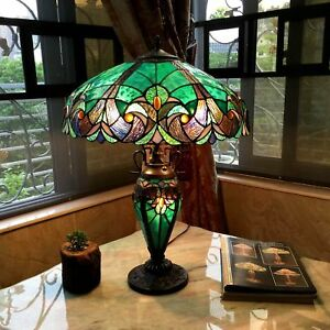 Tiffany-Style-Table-Lamp-Stained-Glass-Vintage-Victorian-Nightstand-Office-Desk