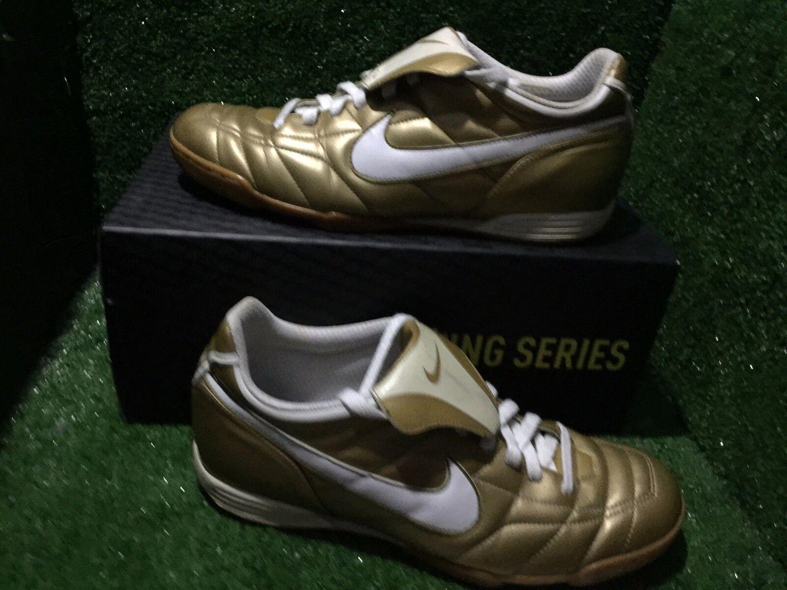Nike tiempo R10 Ronaldinho oro Indoor zapatos deportivos de fútbol Raro 9,5 10,5 44